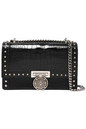 BALMAIN Studded croc-effect leather shoulder bag