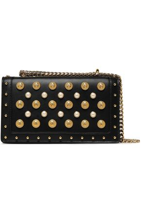 BALMAIN Embellished leather shoulder bag