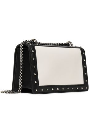 BALMAIN Studded two-tone leather shoulder bag