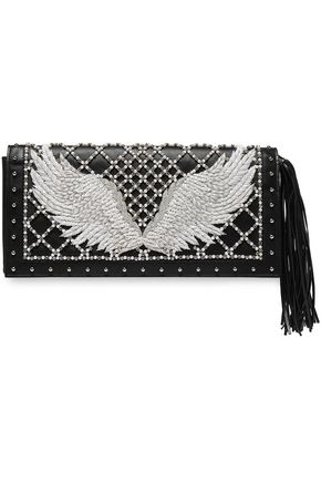 BALMAIN Embellished leather clutch