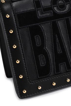 BALMAIN Suede-appliquéd studded leather shoulder bag