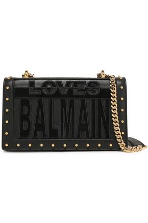 BALMAIN Suede-appliquéd studded leather shoulder bag