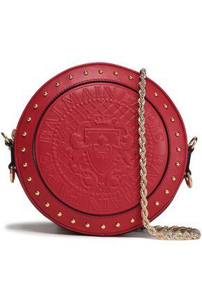 BALMAIN Studded embossed leather shoulder bag