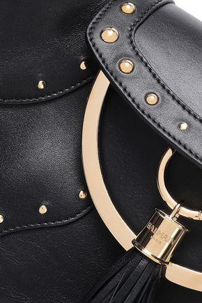 BALMAIN Tasseled studded leather shoulder bag