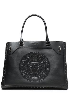 BALMAIN Studded embossed leather tote