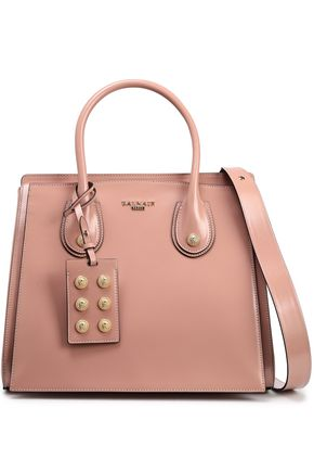 BALMAIN Glossed-leather tote