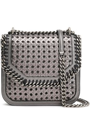 STELLA McCARTNEY Falabella Box metallic woven faux leather shoulder bag