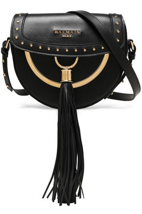 BALMAIN Fringe-embellished studded leather shoulder bag