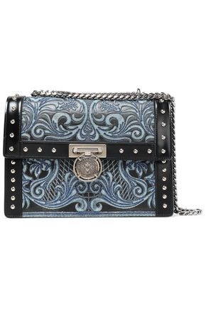 BALMAIN Studded embroidered leather shoulder bag