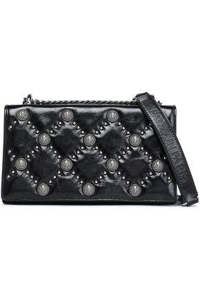 BALMAIN Studded quilted glossed-leather shoulder bag