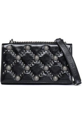 BALMAIN Embellished glossed-leather shoulder bag