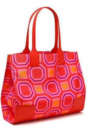 TORY BURCH Faux leather-trimmed printed twill tote