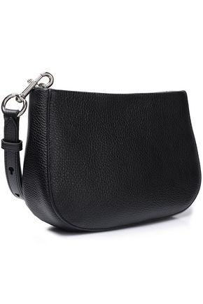 MARC JACOBS Suede-trimmed textured-leather shoulder bag