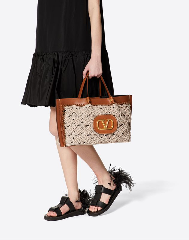 Medium VLOGO Escape Shopper With Macramé Detail