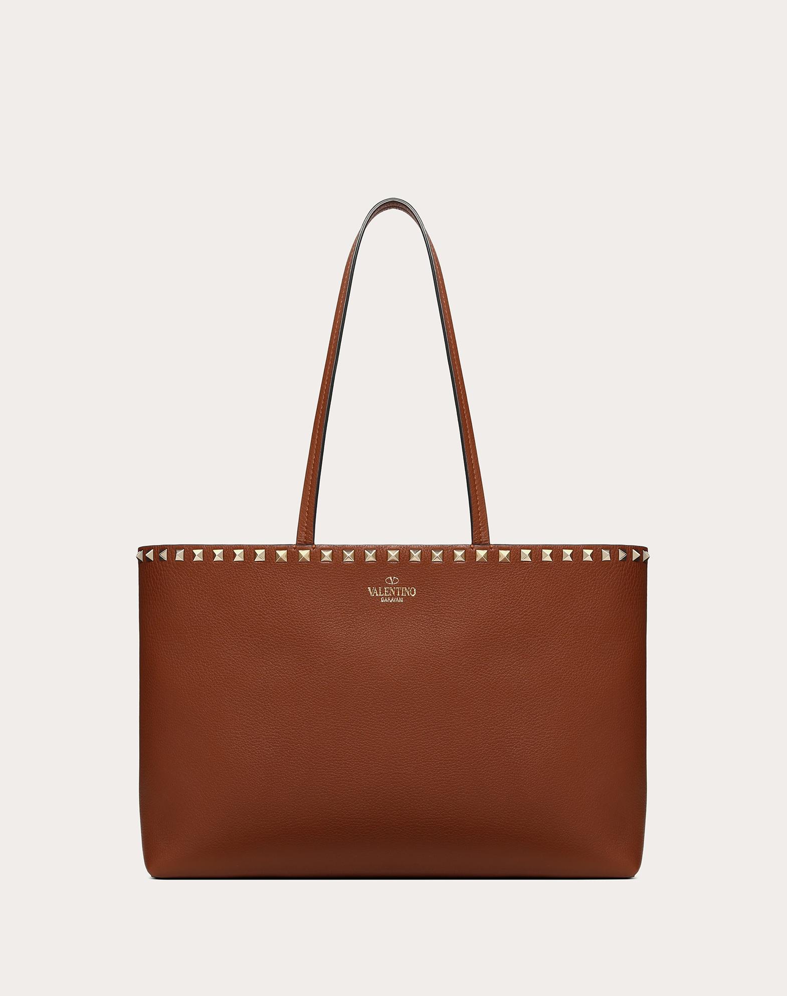 Маленькая сумка-шоппер Rockstud из зернистой телячьей кожи