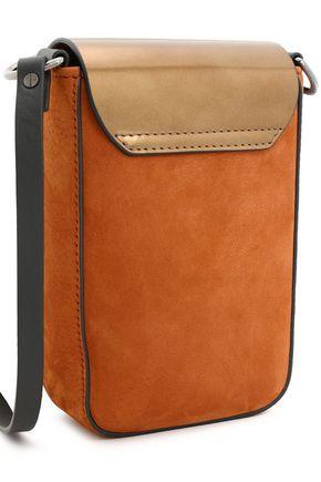 BRUNELLO CUCINELLI Metallic leather and nubuck shoulder bag
