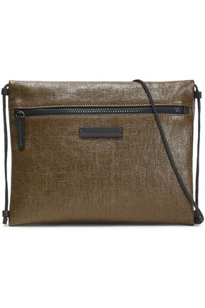 BRUNELLO CUCINELLI Leather-trimmed coated-linen shoulder bag