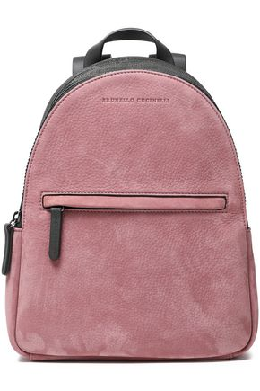 BRUNELLO CUCINELLI Bead-embellished paneled leather and textured-suede backpack