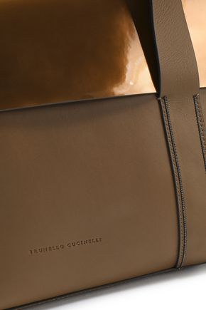 BRUNELLO CUCINELLI Paneled mirrored and smooth-leather shoulder bag