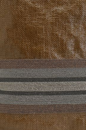 BRUNELLO CUCINELLI Bead-embellished coated-linen backpack