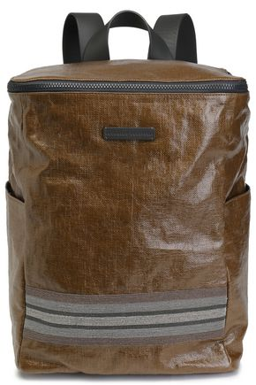 BRUNELLO CUCINELLI Bead-embellished coated-linen backpack