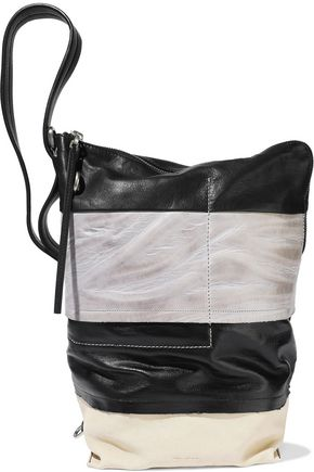 RICK OWENS Coated-denim and textured-leather bucket bag