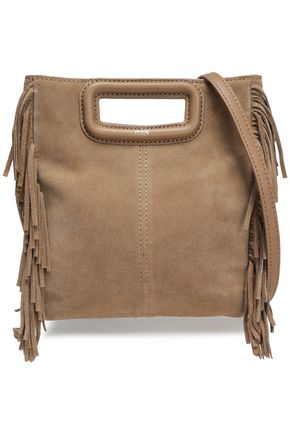MAJE M leather-trimmed fringed suede shoulder bag