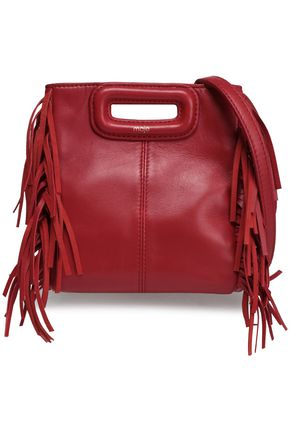 MAJE Mini M fringed leather shoulder bag