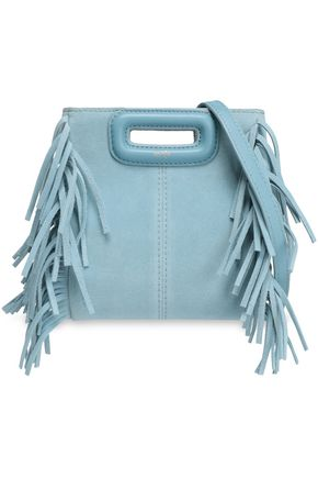 MAJE Mini M fringed suede shoulder bag