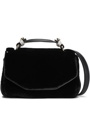 MAJE Dance leather-trimmed faux fur shoulder bag