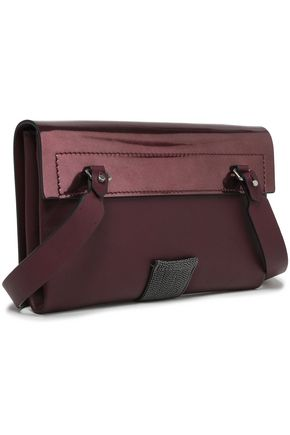 BRUNELLO CUCINELLI Bead-embellished matte and patent-leather shoulder bag