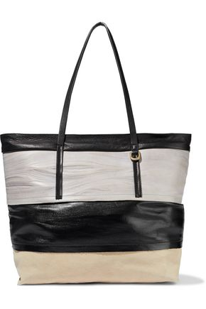 RICK OWENS Coated-denim and textured-leather tote