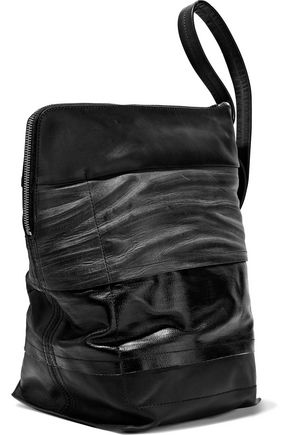 RICK OWENS Paneled coated-cotton, smooth and textured-leather bucket bag