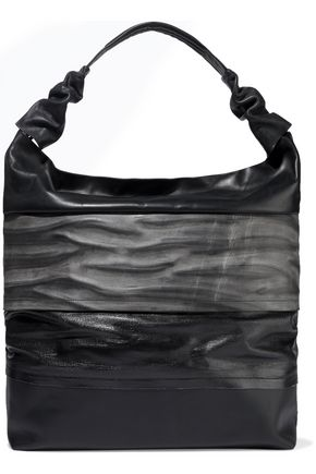 RICK OWENS Mega Adri coated-denim and leather tote