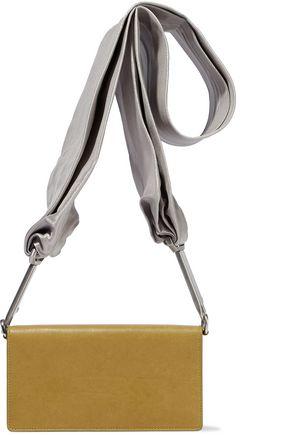 RICK OWENS Satin-trimmed leather shoulder bag