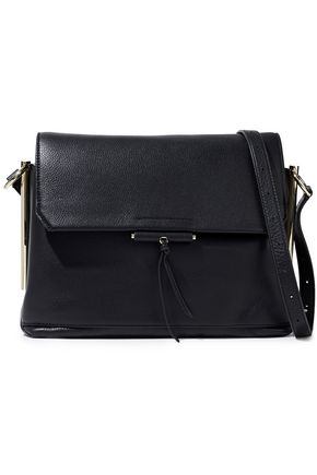 SANDRO Color-block pebbled-leather shoulder bag