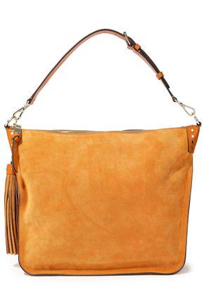 SANDRO Masha leather-trimmed suede shoulder bag