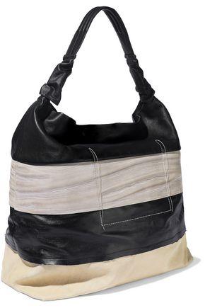 RICK OWENS Jumbo Adri coated-denim and textured-leather tote