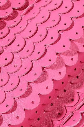 RED(V) Scalloped perforated leather clutch