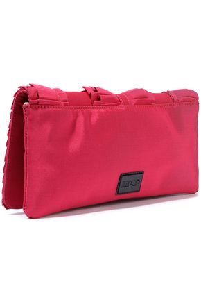 RED(V) Patent leather-trimmed ruffled faille clutch
