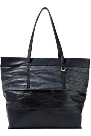 RICK OWENS Paneled coated-cotton, smooth and textured-leather tote