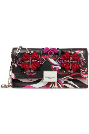 EMILIO PUCCI Embellished printed leather clutch