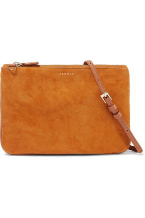 SANDRO Addict leather-trimmed suede pouch