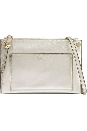 SANDRO Bianca metallic textured-leather shoulder bag