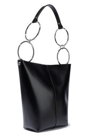 KARA Void ring-embellished glossed-leather tote