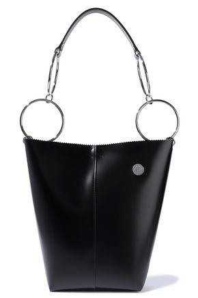 KARA Void ring-embellished glossed-leather tote