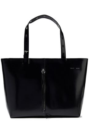KARA Zip-detailed glossed-leather tote