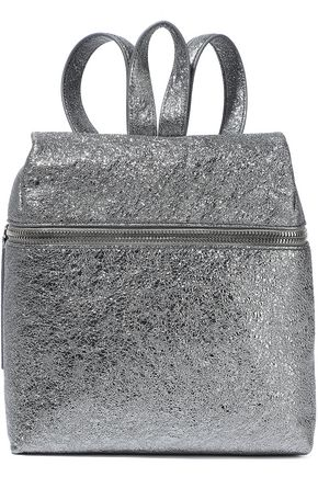 KARA Metallic textured-leather backpack