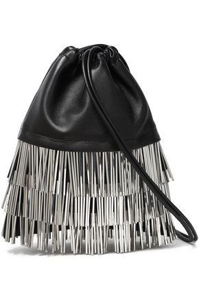 ALEXANDER WANG Fringed silver-tone and leather shoulder bag