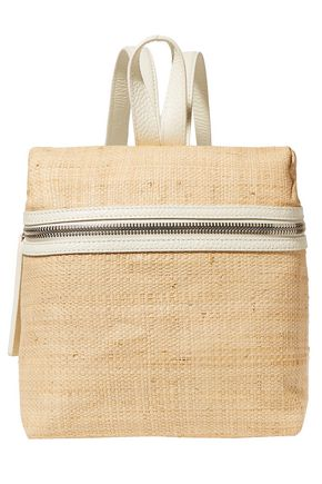 KARA Small leather-trimmed woven straw backpack